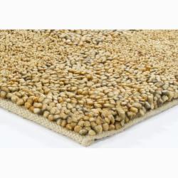 Handwoven Gray/Beige/Gold Mandara New Zealand Wool Shag Rug (2'6 x 7'6) - Thumbnail 1