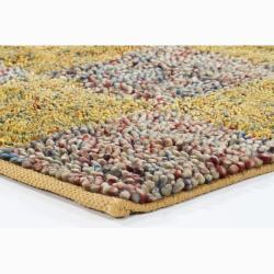 Handwoven Multicolor Checkered Mandara New Zealand Wool Shag Rug (5' x 7'6) - Thumbnail 1