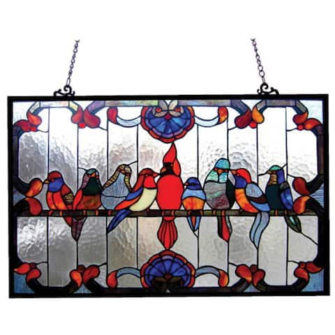 Chloe Tiffany Style Gathering Birds Art Glass Window Panel