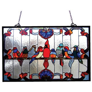 Chloe Tiffany Style Gathering Birds Art Glass Window Panel