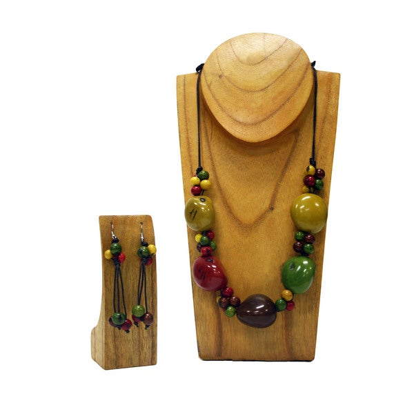 Cotton Cord Hope Big Tagua Nut Jewelry Set (Colombia)