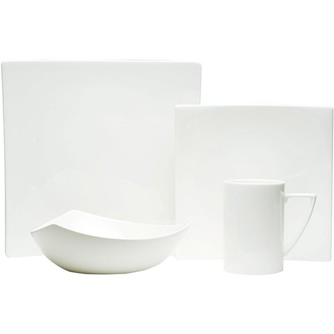 Red Vanilla White Square 4-piece Dinnerware Set