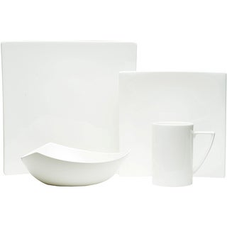 Red Vanilla White Square 4-piece Dinnerware Set