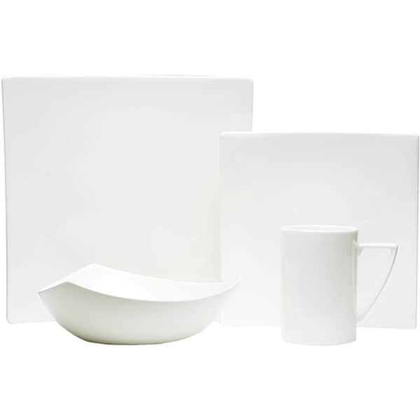 Extreme White Square 4pc. Dinnerware Set