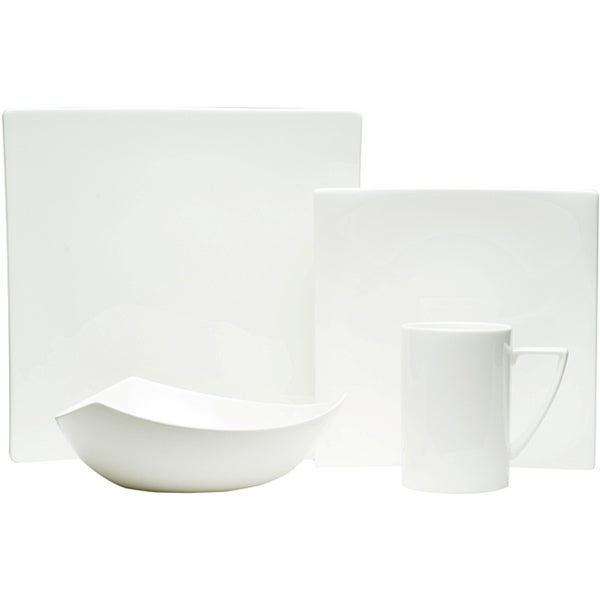 Red Vanilla White Square 4-piece Dinnerware Set  sc 1 st  Overstock.com & Red Vanilla White Square 4-piece Dinnerware Set - Free Shipping ...