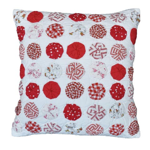Sherrie Red Circles Decorative Pillow