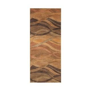 Alliyah Handmade Multi Abstract New Zealand Blend Wool Runner Rug (2' x 8')