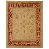 Safavieh Handmade Anatolia Oriental Ivory/ Red Hand-spun Wool Rug - 12' X 18'