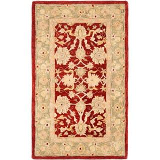 Safavieh Handmade Anatolia Oriental Red/ Green Hand-spun Wool Rug (3' x 5')