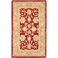 Safavieh Handmade Anatolia Oriental Red/ Green Hand-spun Wool Rug - 3' x 5'