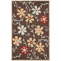 Safavieh Handmade Blossom Daisies Brown Wool Rug - 4' x 6'