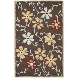 Safavieh Handmade Blossom Daisies Brown Wool Rug (5' x 8')