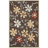 Safavieh Handmade Blossom Daisies Brown Wool Rug (5' x 8') - 5' x 8'