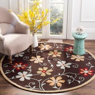 Safavieh Handmade Blossom Daisies Brown Wool Rug (6' Round)