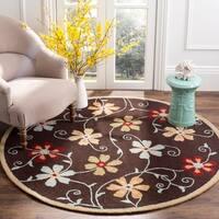 Safavieh Handmade Blossom Daisies Brown Wool Rug - 6' x 6' Round