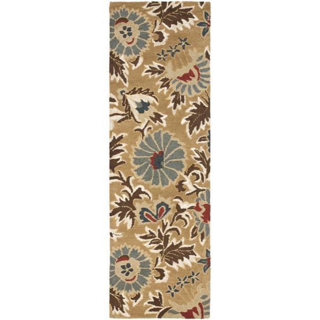 Safavieh Handmade Blossom Floral Beige Wool Rug (2'3 x 8')