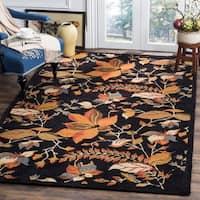 Safavieh Handmade Blossom Botanical Black Wool Rug - 8'9 x 12'