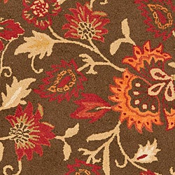 Safavieh Handmade Blossom Gardens Brown Wool Rug (6' x 9') - Thumbnail 2