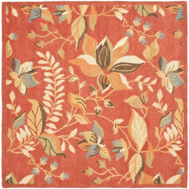 Safavieh Handmade Blossom Botanical Rust Wool Rug (6' Square)
