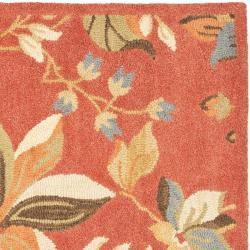 Safavieh Handmade Blossom Botanical Rust Wool Rug (6' Square) - Thumbnail 1