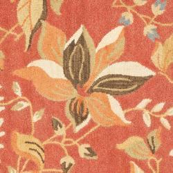 Safavieh Handmade Blossom Botanical Rust Wool Rug (6' Square) - Thumbnail 2