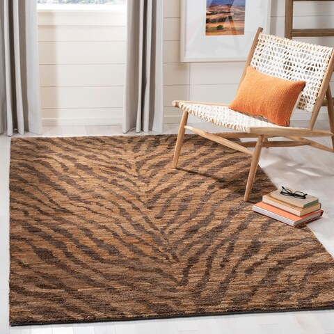 Safavieh Hand-knotted Vegetable Dye Tiger Beige/ Black Rug - 5' x 8'