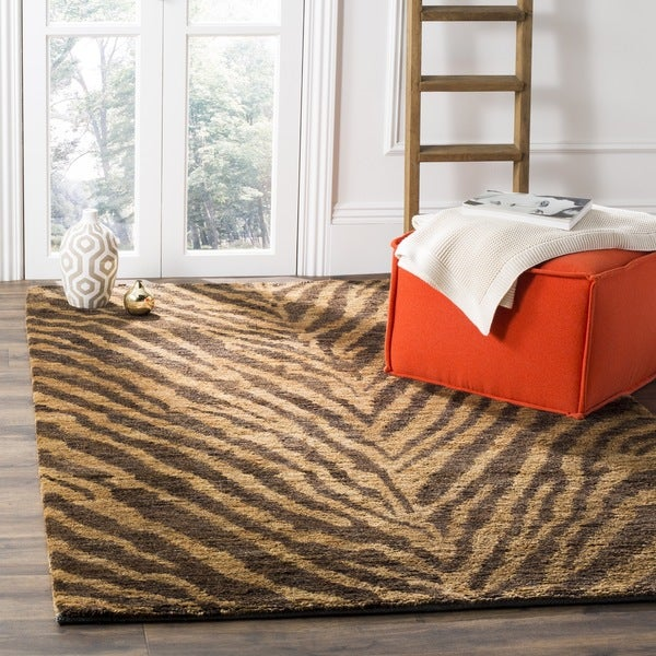 Safavieh Hand-knotted Vegetable Dye Tiger Beige/ Black Rug (5' x 8')