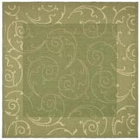 Safavieh Oasis Scrollwork Olive Green/ Natural Indoor/ Outdoor Rug (6'7 Square) - 6'7 Square
