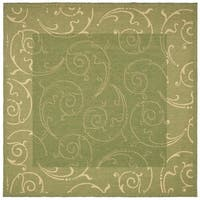 """Safavieh Oasis Scrollwork Olive Green/ Natural Indoor/ Outdoor Rug - 6'7"""" x 6'7"""" square"""