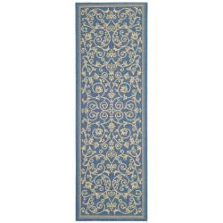 Safavieh Resorts Scrollwork Blue/ Natural Indoor/ Outdoor Runner (2'4 x 9'11)
