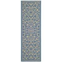 Safavieh Resorts Scrollwork Blue/ Natural Indoor/ Outdoor Runner - 2'4 x 9'11
