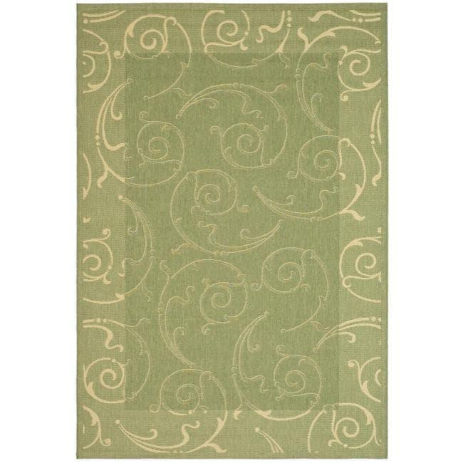Safavieh Oasis Scrollwork Olive Green/ Natural Indoor/ Outdoor Rug - 9' x 12'
