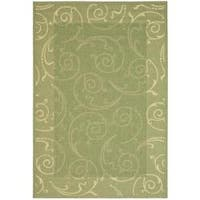 Safavieh Oasis Scrollwork Olive Green/ Natural Indoor/ Outdoor Rug - 9' x 12'
