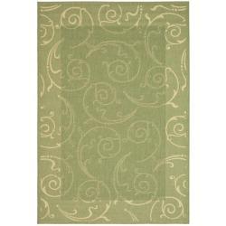 Safavieh Oasis Scrollwork Olive Green/ Natural Indoor/ Outdoor Rug (9' x 12')