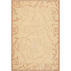 Safavieh Oasis Scrollwork Natural/ Terracotta Indoor/ Outdoor Rug (2'7 x 5')