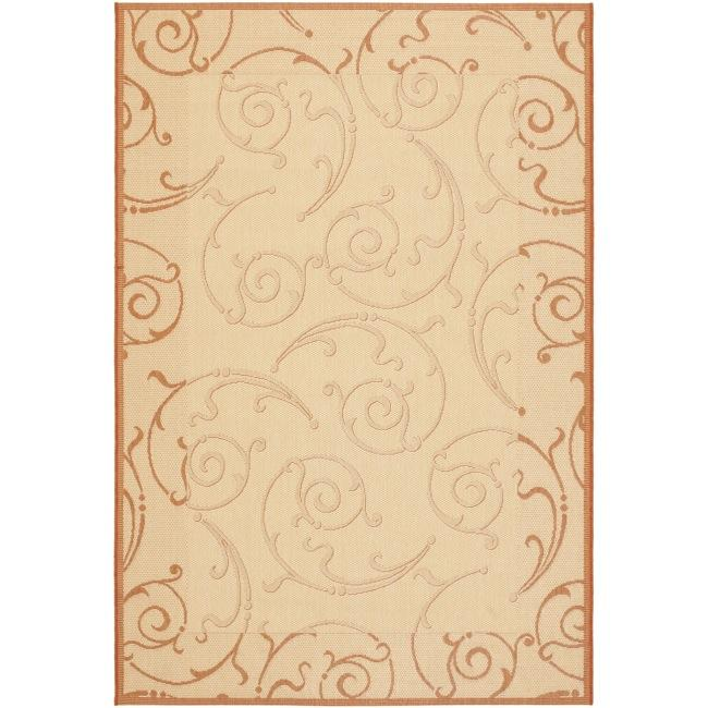 Safavieh Oasis Scrollwork Natural/ Terracotta Indoor/ Outdoor Rug (9' x 12') - Thumbnail 0