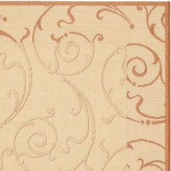 Safavieh Oasis Scrollwork Natural/ Terracotta Indoor/ Outdoor Rug (9' x 12') - Thumbnail 1