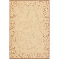 Safavieh Oasis Scrollwork Natural/ Terracotta Indoor/ Outdoor Rug - 9' x 12'