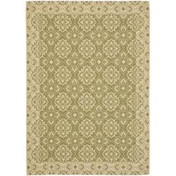 Safavieh Courtyard Elegance Green/ Cream Indoor/ Outdoor Rug (5'3 x 7'7)