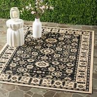 Safavieh Courtyard Oriental Black/ Cream Indoor/ Outdoor Rug - 6'7 x 9'6