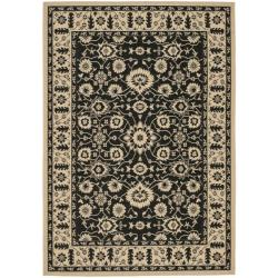 Safavieh Courtyard Oriental Black/ Cream Indoor/ Outdoor Rug (8' x 11'2)