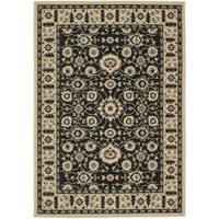 Safavieh Courtyard Oriental Black/ Cream Indoor/ Outdoor Rug - 8' x 11'2
