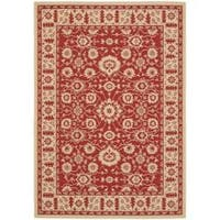 "Safavieh Courtyard Oriental Red/ Cream Indoor/ Outdoor Rug - 2'7"" x 5'"