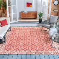 "Safavieh Courtyard Elegance Red/ Cream Indoor/ Outdoor Rug - 5'3"" x 7'7"""