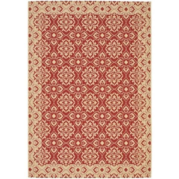 Safavieh Courtyard Elegance Red/ Cream Indoor/ Outdoor Rug (5'3 x 7'7) - 5'3 x 7'7