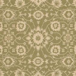 Safavieh Courtyard Oriental Green/ Cream Indoor/ Outdoor Rug (5'3 x 7'7) - Thumbnail 1