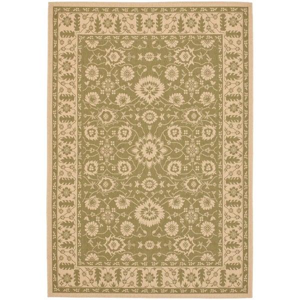 """Safavieh Courtyard Oriental Green/ Cream Indoor/ Outdoor Rug - 5'-3"""" x 7'-7"""""""