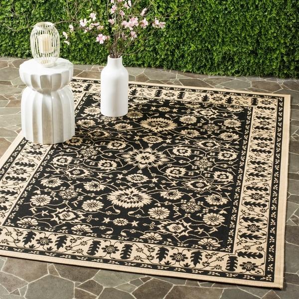 """Safavieh Courtyard Oriental Black/ Cream Indoor/ Outdoor Rug - 4' x 5'7"""""""