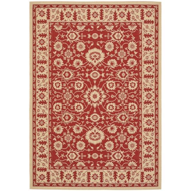 Safavieh Courtyard Oriental Red/ Cream Indoor/ Outdoor Rug (6'7 x 9'6)