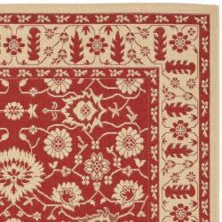 Safavieh Courtyard Oriental Red/ Cream Indoor/ Outdoor Rug (6'7 x 9'6) - Thumbnail 1